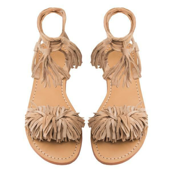 Mystique Mystique Mystique Women's Leather Nude Fringe Suede Tie Up Sandal Size 5 0f6280