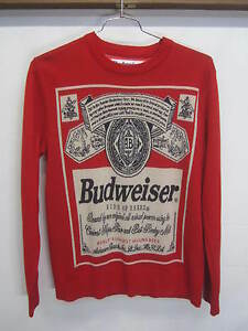 EUC! Budweiser Sweater King of Beers bright red label logo cotton ...