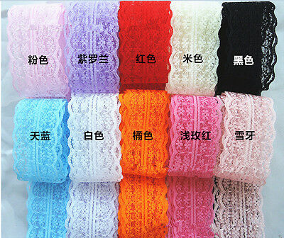 Wholesale!5 Yard Bilateral Handicrafts Embroidered Net Lace Trim Ribbon AUGR