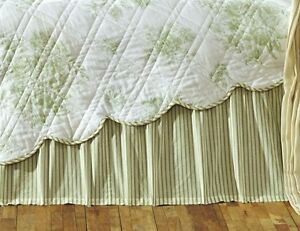 green white ticking stripe twin queen or king bed skirt dust ruffle bedskirt ebay. Black Bedroom Furniture Sets. Home Design Ideas