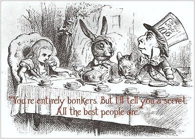 Alice In Wonderland Bonkers Quote Poster Art Print A0 A1 A2 A3 A4 Maxi