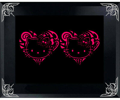 """PUNK HELLO KITTY IN TRIBAL HEART 5/"""" X 5/"""" CAR DECAL STICKER COMES IN A PAIR"""