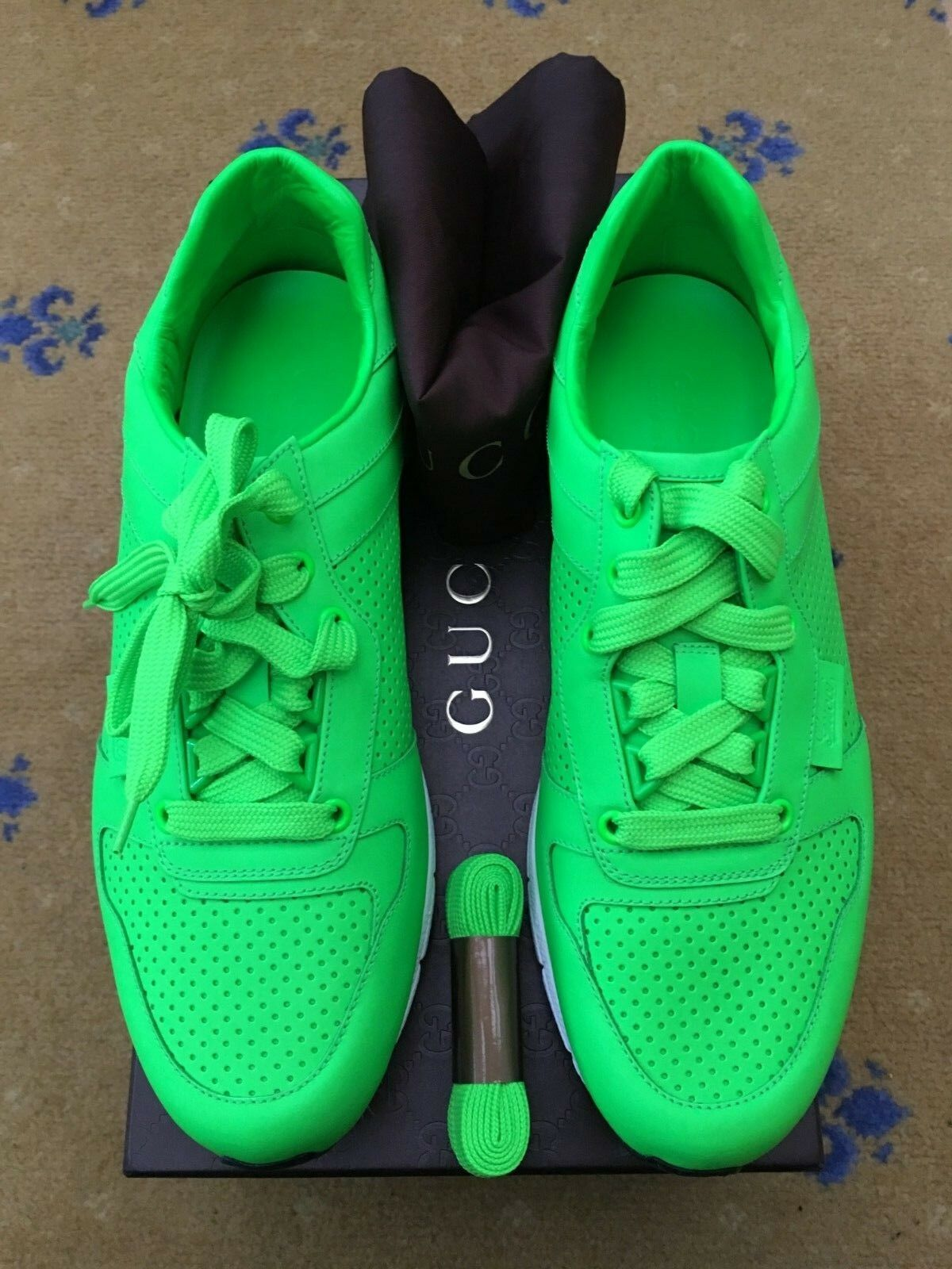 outlet store 4f23e 20c77 New Gucci Mens Trainer Sneaker Green Leather Shoes UK 8.5 US 9.5 EU 42.5  Neon