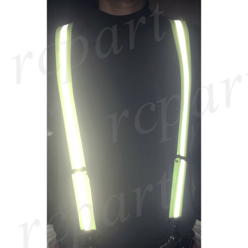 New Y back Men/'s reflective Orange glow in the dark Suspender Braces elastic