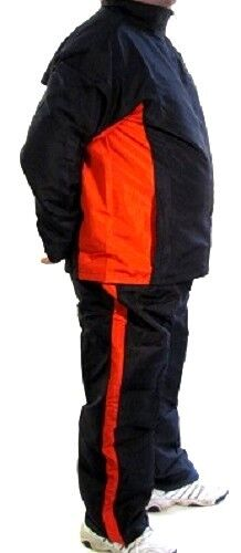 Warm Up Suit Water Resistant High Quality Fabric Lined Jacket/Pants BLACK/RED