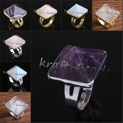 Silver/Gold Plated Amethyst Rose Quartz Gemstone Pyramid Adjustable Finger Rings