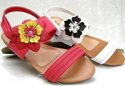 NEW GIRLS LEATHER INSOLES WHITE RED SANDALS STRAPS OPEN SHOES SIZES 11 12 1 2 3