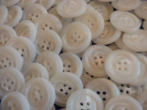 Large 25mm 40L x 10 Ivory White Semi Clear Swirl Pattern 4 Hole Coat Buttons