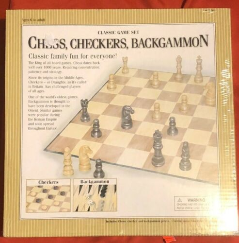 NEW Classic 3 Game Set Chess Checkers Backgammon Sealed