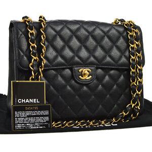 7e6e13f0f80d Auth CHANEL Jumbo CC Double Chain Shoulder Bag Black Caviar Leather ...