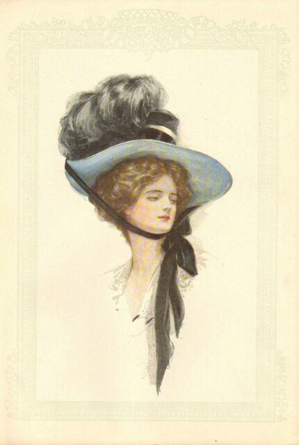 Harrison Fisher, Victorian, Pretty Lady, Blue Hat, 1908 Antique Art, Print.