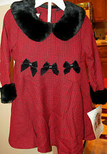 Bonnie Jean Jessica Ann ~ Red & Black Houndstooth Dress ~ Size 3T ~ NEW w/Tags