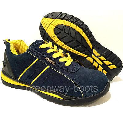 Dynamisch Mens Navy Leather Lightweight Work Safety Steel Toe Cap Boots Shoes Trainers Sz Hell Und Durchscheinend Im Aussehen