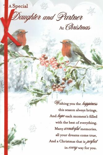 Quality Christmas Card  Cute With Lovely Words DAUGHTER AND PARTNER