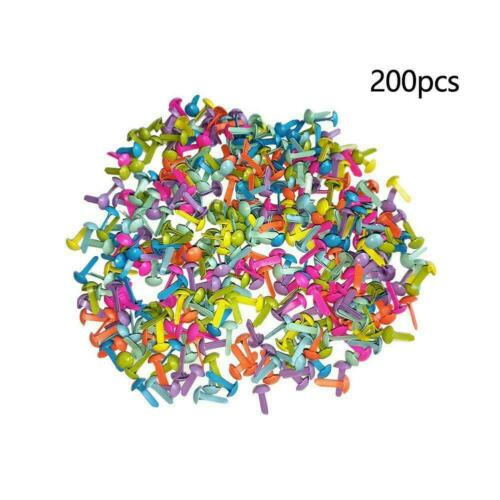 200PcMixed Color Metal Brad Paper Fastener For Scrapbooking Craft 8mm M0K9