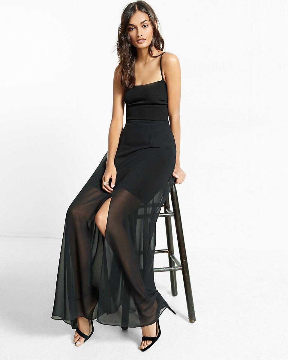 Nwt express tie back maxi long sheer lace up back dress schwarz large L