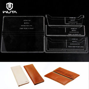 Slot Long Wallet Acrylic Leather Template Set Leathercraft Pattern - Leather wallet template