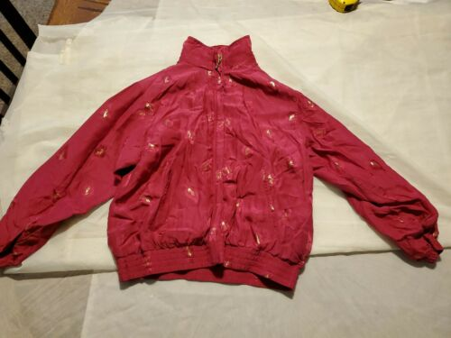 Vintage 80s EVR Red Windbreaker Silk (cb7)