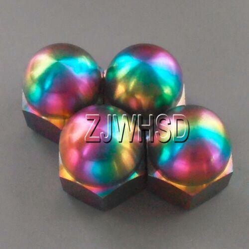 4pcs M6 Rainbow Titanium Ti Acorn Hex Cap Nut Aerospace Grade Colorful Bike