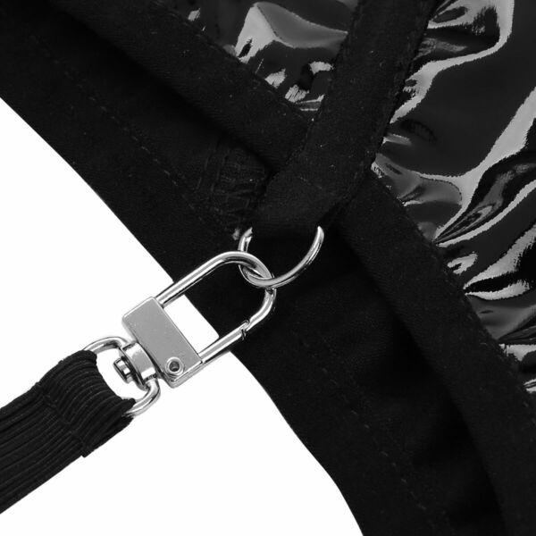Damen Wetlook Hot Pants High Waist Booty Shorts Zip Unterwäsche with Strumpfband