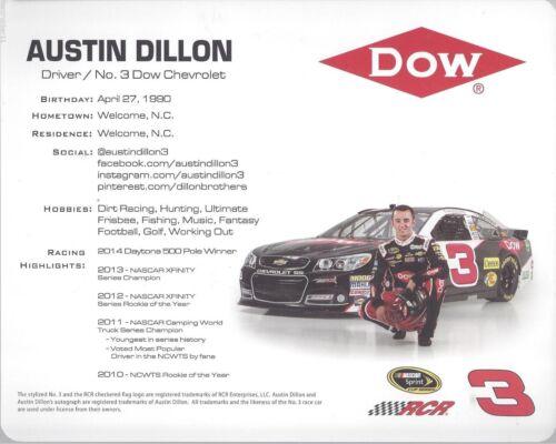 "2015 AUSTIN DILLON /""RCR DOW CHEVY/"" #3 NASCAR SPRINT CUP SERIES 1//3 POSTCARD"