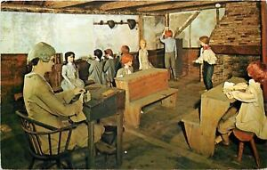 York-Maine-School-House-Built-1745-Interior-School-Master-Children-Figures-1950s