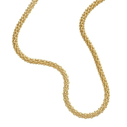 1mm 14K Gold Plated Sterling Silver 925 POPCORN COREANA Chain Necklace Bracelet