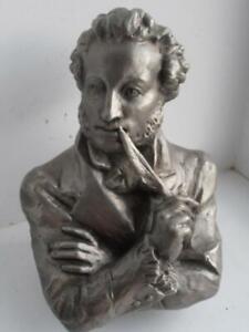 Russian-Writer-Alexandr-Pushkin-Vintage-russian-metal-USSR-figurine-bust-9567c