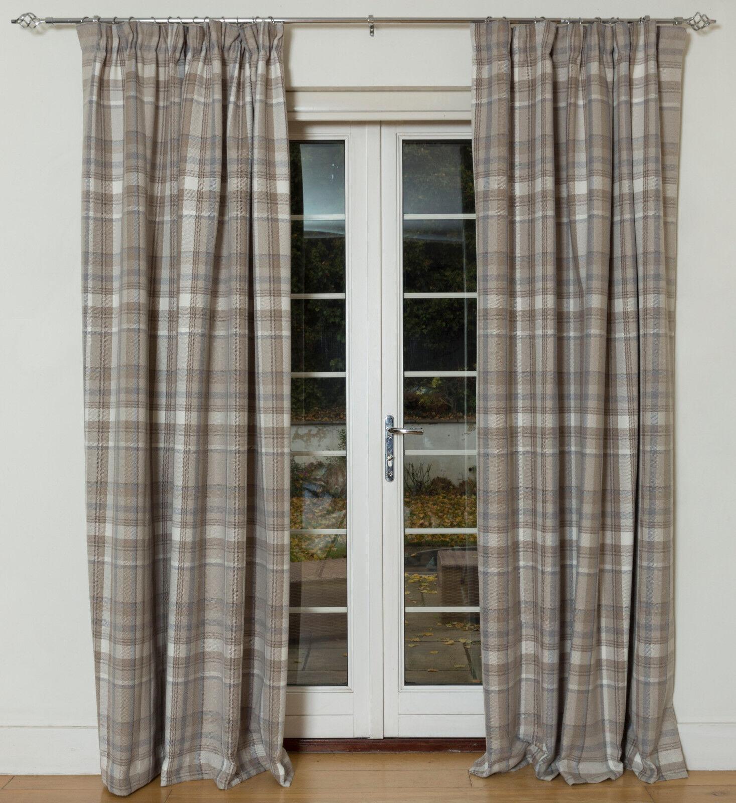 McAlister Textiles heritage Lana Beige Naturale Sensazione Tartan Check Curtain coppia