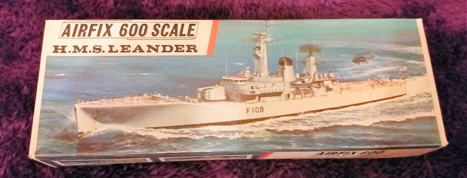 AIRFIX 1 600 HMS LEANDER Frigate Model Kit F6S in 1st ISSUE TYPE 3 BOX COMPLETE