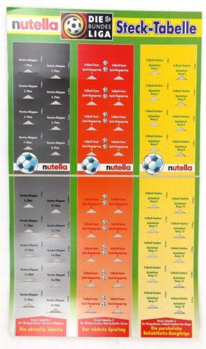 Nutella stecktabelle championnat 1999 à 2000 football publicité Ferrero vide