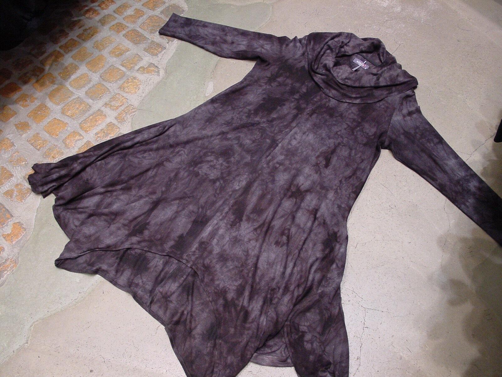Kekoo° Ausgefallenes Lagenlook Strick Kleid Tunika BATIK Groß  Schwarz Grau  2