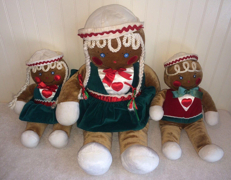 Gingerbread Family Plush Toy Lot 3 Mom Boy Boy Boy Girl Target 1990 Christmas Candy Cane f50425