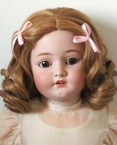 """Perruque Blond Foncé Jumeau® Boucles T37/38cm Poupée Ancienne-head Sz15"""""""