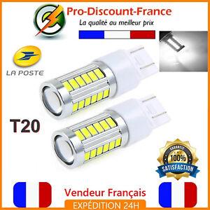 2-x-Ampoule-33-LED-T20-7443-W21-5W-Blanc-Xenon-Feux-De-Jour-Recul-Brouillard