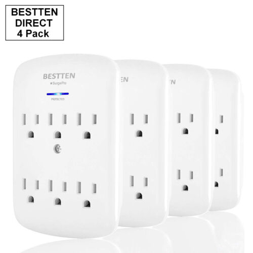 AC Socket Extender 4 Pack 6 Outlet Surge Protector Multi Plug Wall Adapter Tap