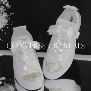 f624249785305d Image is loading Bridal-Wedding-Custom-Crystal-Converse -Personalised-Printed-Ribbon-