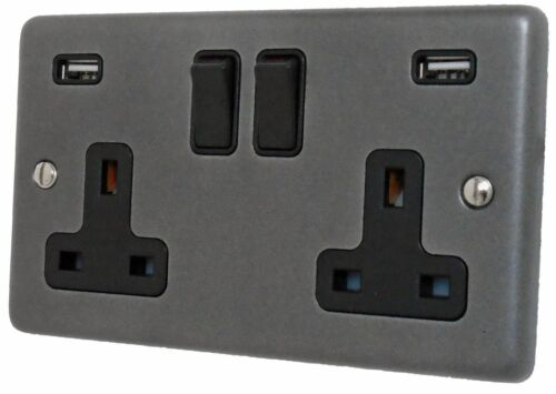 G/&h norme CP910B plaque étain 2 Gang Double 13 A Switched Plug Socket 2.1 A USB
