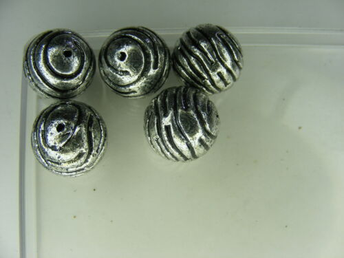 5 PERLES RONDES ARGENTE 16 mm synthétiques EXTRA !! A795