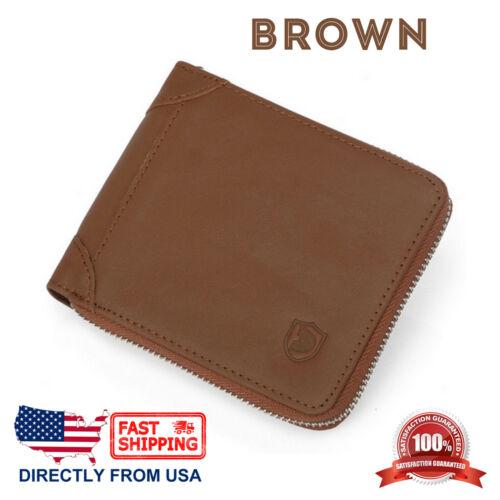 Men/'s RFID Blocking Genuine Top Grain Leather ID Window Zip Around Bifold Wallet