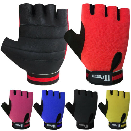 Cut Finger Cycling Gloves Leather Cycle Mitts Mittens Gloves Multi Color
