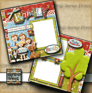 FAMILY ~ 2 premade scrapbook pages paper piecing LAYOUT BOY GIRL DOG DIGISCRAP