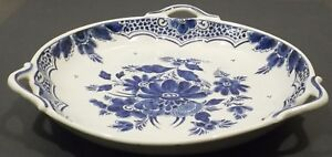 Ceramics-Vintage-Fruit-Pastry-Plate-11in-Blue-White
