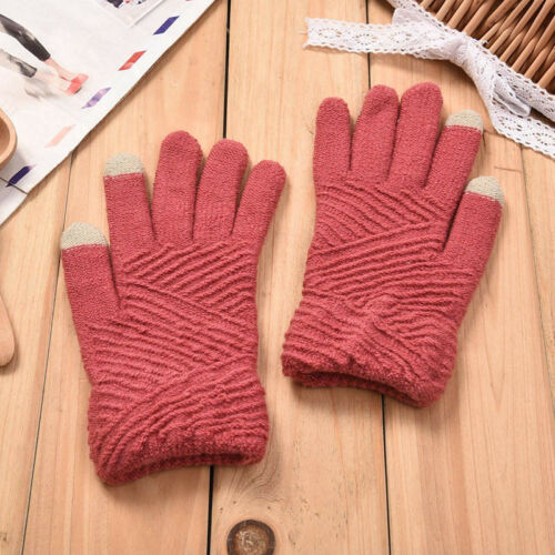 Women Winter Touch Screen Mittens Knitted Gloves Full Finger Warm Winter Gloves