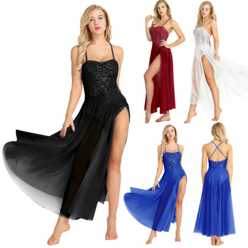 Womens Adult Ballet Dance Dress Sequined Leotard Bodysuit Mesh Tulle Maxi Skirt