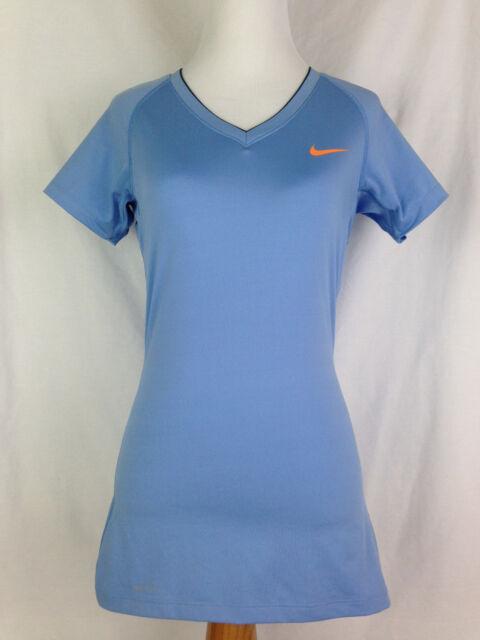 Nike Pro Womens Shirt S Small Dri-Fit Blue Yoga Fitness Athletic V Neck Tops