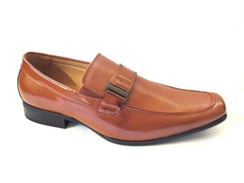Faranzi F4736 Men/'s Cognac patent Leather Loafers Pebble Trim Detail