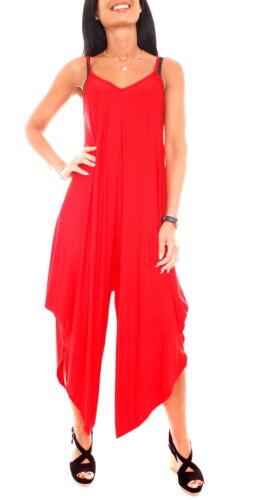 Damen Jumpsuit Hosenkleid Harem Strandkleid Jersey Overall Jumper Rot