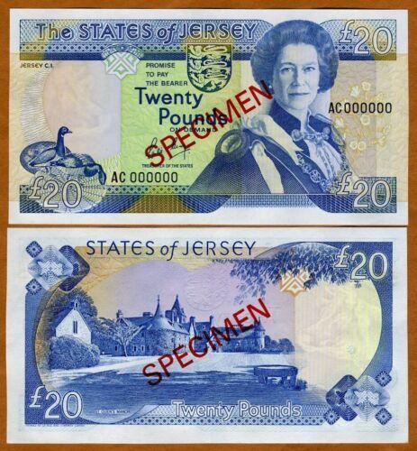 Jersey, SPECIMEN, 20 pounds, ND (1989), QEII, P-18s, UNC