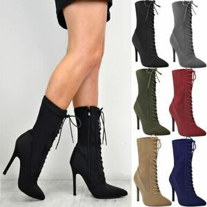 b52bc727e6e7 Ladies Womens Lace Up Stretchy High Heel Stiletto Ankle Boots Party ...